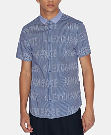 A|X Armani Exchange Men's Wavy Logo Shirt