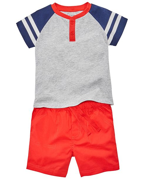 First Impressions Toddler Boys Red, White & Blue Nautical Top & Shorts Separates, Created for Macy's