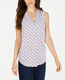 Charter Club Printed Pleat-Neck Top, Created for Macy's