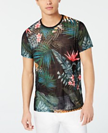 GUESS Men's Wynn Wild Jungle Graphic Semi-Sheer T-Shirt