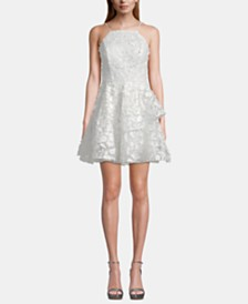 Betsy & Adam Halter Ruffle Lace Fit & Flare Dress