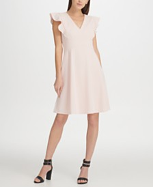 DKNY Ruffle Sleeve Fit & Flare Dress