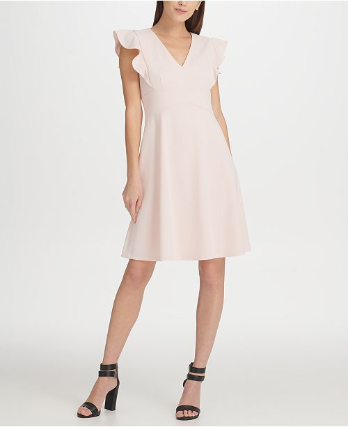 13342b00276 DKNY Ruffle Sleeve Fit   Flare Dress   Reviews - Women - Macy s