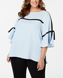 Calvin Klein Plus Size Contrast-Trim Bell-Sleeve Top