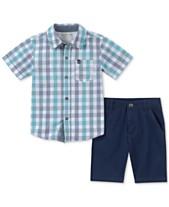 36cd3c35f1f6 Calvin Klein Toddler Boys 2-Pc. Plaid Shirt & Twill Shorts Set