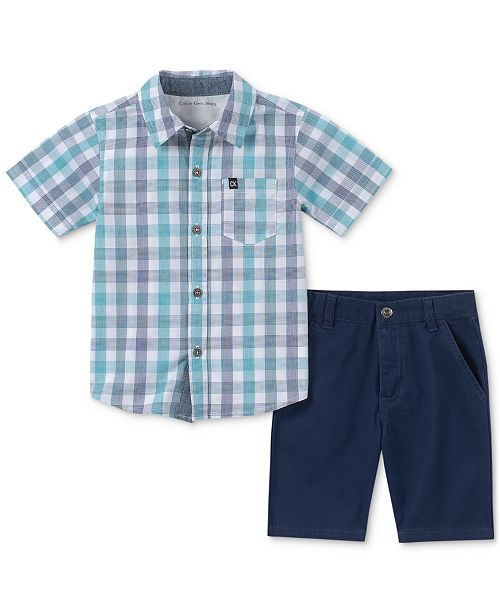 Calvin Klein Toddler Boys 2-Pc. Plaid Shirt & Twill Shorts Set