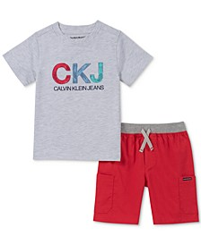 Little Boys 2-Pc. Logo T-Shirt & Drawstring Shorts Set