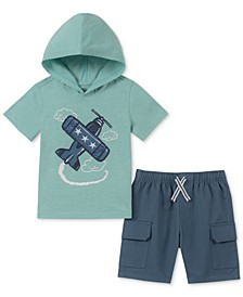 Little Boys 2-Pc. Plane-Print Hooded T-Shirt & Twill Shorts Set