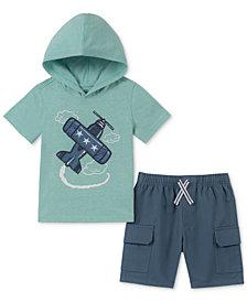 Kids Headquarters Toddler Boys 2-Pc. Plane-Print Hooded T-Shirt & Twill Shorts Set