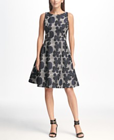 DKNY Sleeveless Floral Jacquard Fit & Flare Dress