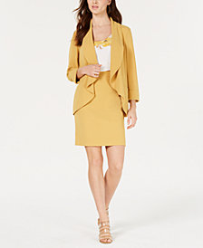 Bar III Textured Crepe Jacket, Printed Top & Textured Crepe Skirt, Created for Macy's
