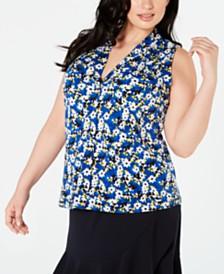 Calvin Klein Plus Size Floral V-Neck Top