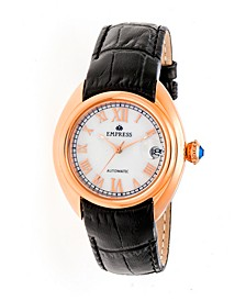 Antoinette Automatic Rose Gold Case, White Dial, Black Leather Watch 38mm