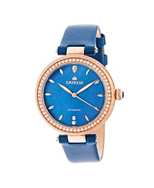 Louise Automatic Blue Leather Watch 36mm