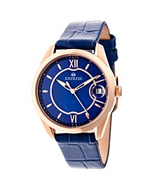 Messalina Automatic Blue Leather Watch 34mm