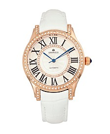 Xenia Automatic White Leather Watch 35mm