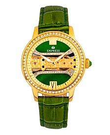 Empress Rania Mechanical Green Leather Watch 38mm