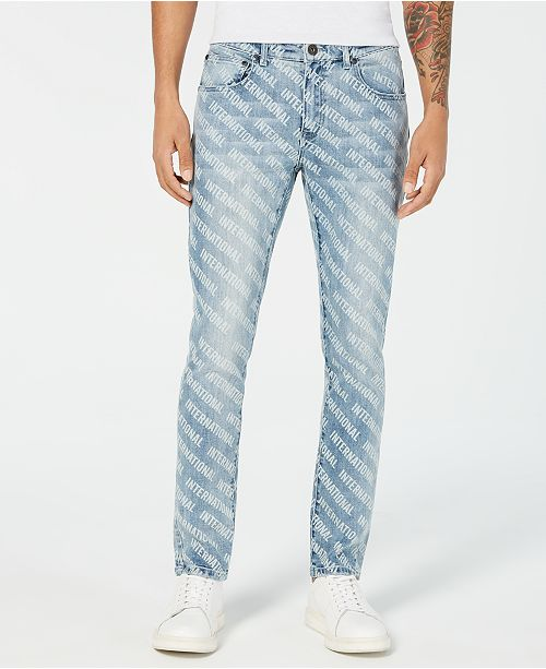 INC International Concepts INC Men's Skinny-Fit Logo Graphic Jeans, Created for Macy's
