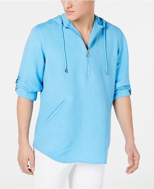 Pool demi hommescree Chemises et commentaires Inc pour hommes Party a zip pour International Sweat a manches Concepts Bleu et pour courtes capuche boutons a FTJ3lcK1