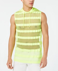 I.N.C. Men's Hooded Striped Mesh Tank, Created for Macy's