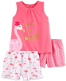 Carter's Little & Big Girls 3-Pc. Flamingo Pajamas Set