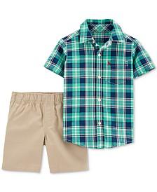 Carter's Toddler Boys 2-Pc. Cotton Plaid Shirt & Shorts Set
