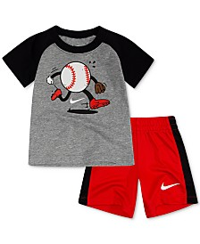 Nike Baby Boys 2-Pc. Sportsball Graphic T-Shirt & Shorts Set