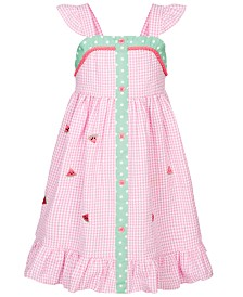 Good Lad Little Girls Watermelon Gingham Seersucker Dress