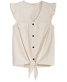 Monteau Big Girls Linen Tie-Front Shirt