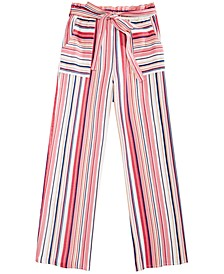 Big Girls Striped Linen Paper Bag Pants