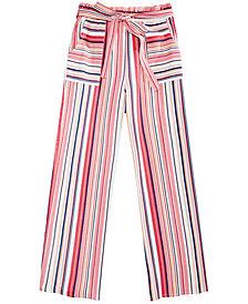 Monteau Big Girls Striped Linen Paper Bag Pants