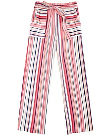 Monteau Big Girls Striped Linen Paper Bag Pants