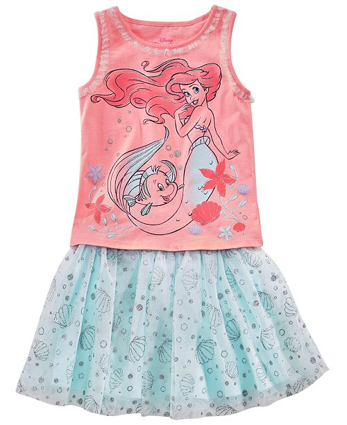 Disney Little Girls 2-Pc. Ariel Tank Top & Printed Skirt Set, Created for Macy's