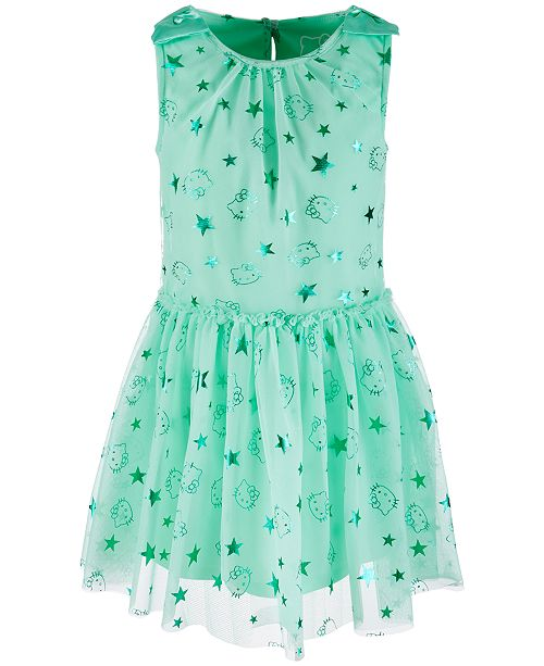 Hello Kitty Little Girls Foil-Print Mesh Dress, Created for Macy's