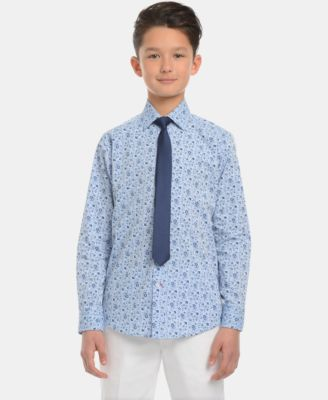 Big Boys Floral-Print Shirt & Necktie Set
