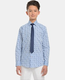 Tommy Hilfiger Big Boys Floral-Print Shirt & Necktie Set