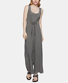 BCBGeneration Lace-Up Wide-Leg Jumpsuit
