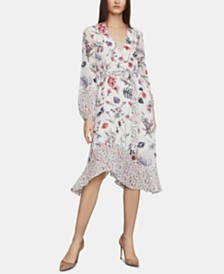 BCBGMAXAZRIA Mixed-Print A-Line Dress