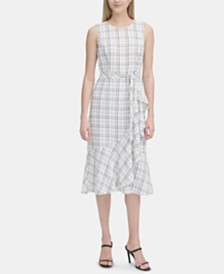Calvin Klein Plaid A-Line Midi Dress