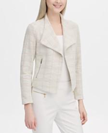 Calvin Klein Tweed Open-Front Jacket
