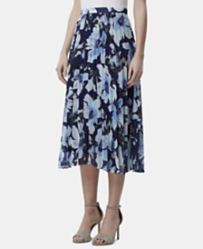 Tahari ASL Pleated Floral-Print Midi Skirt