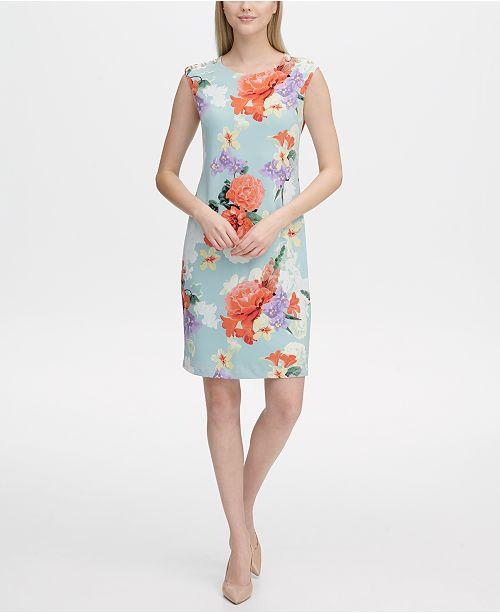469dde24 Calvin Klein Floral-Print Sheath Dress & Reviews - Dresses - Women ...