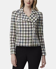 Tahari ASL Plaid Moto Jacket