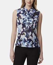 Tahari ASL Sleeveless Ruffled Printed Top