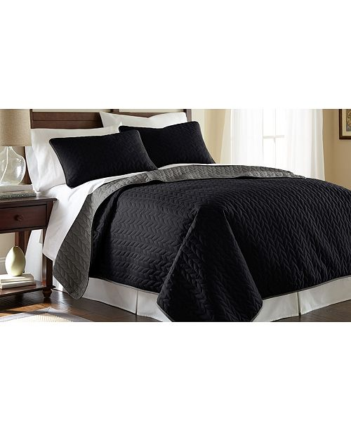 Modern Threads Sanctuary By Pct 3-Piece Solid Reversible Coverlet Set Leaf Black/Gray Queen