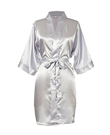 Bride Silver Satin Robe