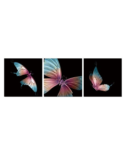 Decor Butterfly 3 Piece Set Wrapped Canvas Wall Art Painting 16 X 48