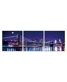 """Decor Cityline 3 Piece Wrapped Canvas Wall Art NYC Skyline -27"""" x 82"""""""