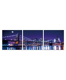 "Chic Home Decor Cityline 3 Piece Wrapped Canvas Wall Art NYC Skyline -27"" x 82"""