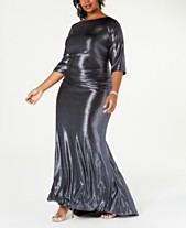 8335cc87843 Betsy   Adam Plus Size Long Metallic Gown